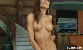 Super hot brunette pornstar jerking cock